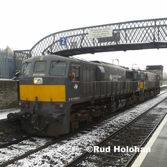 Irish Rail 084 and 078 at Athy 14/01/15 (Rud Rail) Tags: ireland snow train gm general diesel rail railway trains motors locomotive irishrail athy eireann cie iarnrod