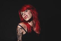 Celia (Crowley Groot) Tags: red portrait woman black hot sexy girl face canon studio lights luces women shot gente retrato lips tattoos redhead attitude 7d pelirroja pelo actitud expresion tirantes fondonegro