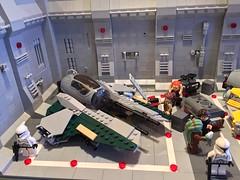 LEGO® Star Wars: Interceptor Starfighter Hangar - 09 (jm_aalen) Tags: star republic space hangar cockpit battle widget spaceship wars gunship interceptor moc starfighter actis greebles eta2 lego® afollu nurbies