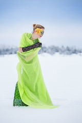 Princess of the frozen lake (Barry_Madden) Tags: winter woman snow cold forest scarf outside model mask lace cities freezing doris talvi eveninggown youngwoman frozenlake lappeenranta eveningdress lakesaimaa lacegloves justdutchdoris