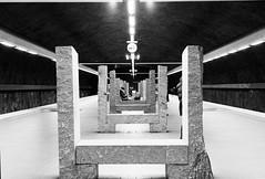 Skarpnck subway (TedLundberg) Tags: bw white black film analog 35mm blackwhite minolta sweden stockholm iso400 trix sverige pushed process xg1