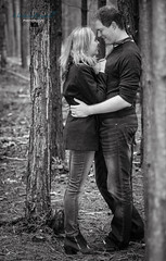 Kate and Sam (MathewKendallPhotography) Tags: wood portrait blackandwhite woman man love nature canon outdoors happy engagement woods hug kiss couple embrace engaged tamron canon6d
