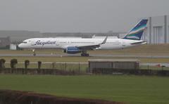VQ-BCF (aitch tee) Tags: wet weather southwales aircraft landing boeing airliner valeofglamorgan yakutia b757200 vqbcf modstathan