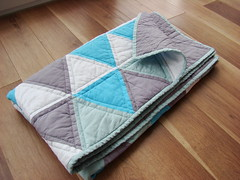 Triangle handmade quilt (irina_vykhrestiuk) Tags: blue sky baby white modern grey idea triangle quilt handmade turquoise pastel mint homemade gift blanket newborn patchwork throw todler