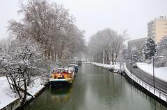 Pont des Demoiselles, Toulouse, Haute-Garonne, Midi-Pyrénées (lyli12) Tags: france landscape canal nikon hiver reflet neige toulouse paysage péniche ville canaldumidi hautegaronne midipyrénées d7000