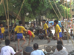 Sepak takraw exhibition on streets of Mandalay