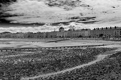 Llandudno beach and promenade - b&w (2geephotography) Tags: blackandwhite bw beach monochrome clouds seaside pebbles promenade pebblebeach llandudno 2geephotography