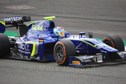 Marvin Kirchhöfer in his Carlin car in GP2 Practice at the 2016 British Grand Prix