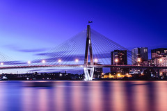 Anzac Bridge Sydney (tonyg1494) Tags: world ocean city longexposure trip travel bridge sky art tourism water clouds photography lights evening dusk sydney australia architectural nsw coastline bluehour waterscape anzacbridgesydney nikond5300