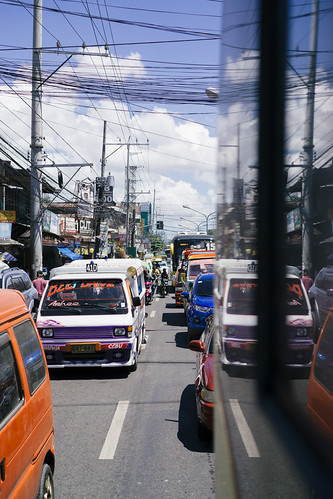 Rush hour traffic jam with Jeepneys in Cebu City, the Philippines