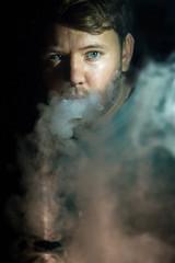 Addiction (Adam Diamond Photography) Tags: addict addiction smoke vape vapor black focus white fog cloud canon canon5d photography headshot portrait selfie