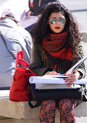Red in Rome (The Eclectic Mix) Tags: candid portrait italy nickfewings sunglasses fingernails lips scarf bag person street contrast colour fashion woman rome red
