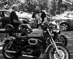 Bikers in the shade (pilechko) Tags: people blackandwhite monochrome shadows pennsylvania bikes motorbike newhope bowmanshill