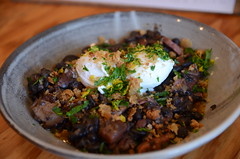 Rio Calling feijoada of black beans, pork shoulder, lardons, poached eggs - The General Food Store, Emerald - close (avlxyz) Tags: fb4 feijoada blackbeans pangrattato lardons chorizo porkshoulder poachedeggs cassoulet
