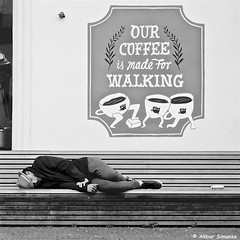 OUR COFFEE IS MADE FOR WALKING (Akbar Simonse) Tags: dscn3571 denhaag thehague agga lahaye haag sgravenhage holland netherlands nederland streetphotography straatfotografie people candid bench bank zwartwit bw blancoynegro bn monochrome vierkant square akbarsimonse juxtaposition ourcoffeeismadeforwalking hoed hat sleeping slapen pim