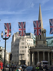 London in the sunshine (Biggleswade Blue) Tags: infocus highquality bbc british broadcasting corporation house langham place london central summer summertime all souls church hugh palmer john stott regent street bunting union jack flag