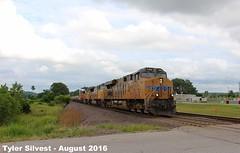 3/3 UP 7406 Leads WB Intermodal 8-12-16 (KansasScanner) Tags: up unionpacific railroad train bonnersprings kansas