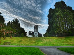 Clock Tower (davidntaylor1968) Tags: tree architecture religion builtstructure spirituality buildingexterior church placeofworship grass footpath lawn sky cloudsky pathway growth leading walkway outdoors showcaseseptember photography parkmanmadespace beautyinnature landscapephotography