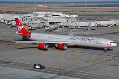 G-VFIT (Rich Snyder--Jetarazzi Photography) Tags: virginatlanticairways virginatlantic virgin vir vs airbus a340 a340600 a340642 a346 gvfit dancingqueen taxi taxiing departure departing sanfranciscointernationalairport sfo ksfo millbrae california ca airplane airliner aircraft jet plane jetliner ramptowera rcta atower