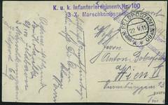 """Archiv H613 Soldat """"K. u. K. Infanterieregiment 100"""", WWI, (back) Feldpostamt vom 22. Mai 1915 (Hans-Michael Tappen) Tags: archivhansmichaeltappen ersterweltkrieg wwi 19141918 kuk feldpostamt sterreichungarn handschrift 1915"""