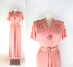 1940s Blithe Spirit pink crepe gown with multicolored rhinestones (Small Earth Vintage) Tags: smallearthvintage vintageclothing vintagefashion dress 1940s 40s pink gown rhinestones