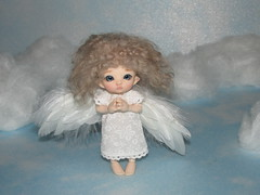 1 (cat-soft paws) Tags: prayer air heaven clouds sky wings angel        titi  handmade clothes realpuki     indoor  dress people  suitcase feathers hybrid  ruby