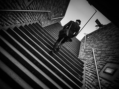 Looking for pictures (MiguelHax) Tags: steps underground photographer bw wb monochrome london blackandwhite whiteandblack