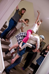 Staircase Stack Kids 3 (C & R Driver-Burgess) Tags: pile carry back bent hold lift climb atop sit stand girls boys young kids children man woman cousins pyjamas sleepwear