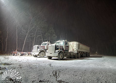 Truckin' (Blinkofanaye) Tags: street light snow tractor storm night truck lot rig parked