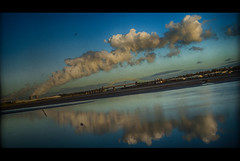 Cinematic Flyby (Richard Deane) Tags: bridge reflection texture water architecture clouds liverpool photoshop river landscape angle cheshire horizon nine border grain nik 69 vignette sixteen wirral runcorn merseyside ration widnes aspect merseycinematic