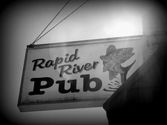 Rapid River Pub (yooperann) Tags: county sign bar river restaurant cafe michigan delta upper peninsula rapid