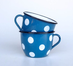 Pair of Polka Dot Enamel Cups, 50's Yugoslavia / Blue White (orangem6) Tags: blue white home cup coffee tea emo case polka dot mug curious decor kitchenware enamel