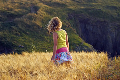 Golden Hour Girl (dolbinator1000) Tags: uk summer cliff sun girl field grass wales golden pretty dress sunny hour pembrokeshire porthgain