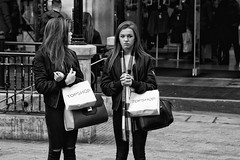 Topshop princess girls with ripped jeans - IMG_1745-Edit (roger_thelwell) Tags: life street city uk winter girls portrait england people urban bw white black streets cold london lamp monochrome westminster beauty hat rain leather mobile umbrella hair bag walking real photography mono chat shiny phone with traffic post natural princess photos britain circus cigarette candid cab taxi great over sac ripped hats cell photographic smoking jeans lamppost photographs oxford conversation shiney talking shoulder handbag stud speak speaking studs commuters topshop scak