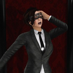 Uncivilized (alexandriabrangwin) Tags: world red woman leather computer dark out 3d pain holding graphics pattern control mask head lace breath tie business suit jacket secondlife virtual freak curtains normal screaming society abnormal cgi expectation businesswoman recoil alexandriabrangwin