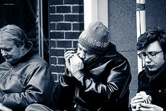 Lunchtime Serenade (Silver Machine) Tags: hat leather lunch lumix hampshire jacket beanie winchester harmonica sausageroll mouthorgan oldsoldier lumixg lumixg20mmf17 lumixg5