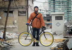 Rider Profile: Lao K (Factory Five) Tags: portrait urban bike bicycle track factory shanghai 5 five profile gear fixed fixie rider slums shanghainese