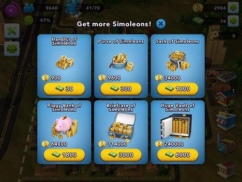 SimCity BuildIt Virtual currency Bank: screenshots, UI