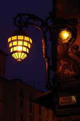Timeless (damar47) Tags: street city orange detail lamp yellow corner dark evening lowlight darkness pentax medieval bologna historical medievale citycentre lampione da50200mm citybynight penombra pentaxk30
