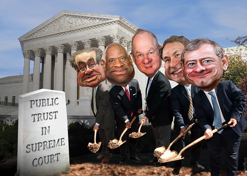 Supreme Court Grave Diggers (updated with Kavanaugh).  What a happy bunch. On their way to burying democracy too.