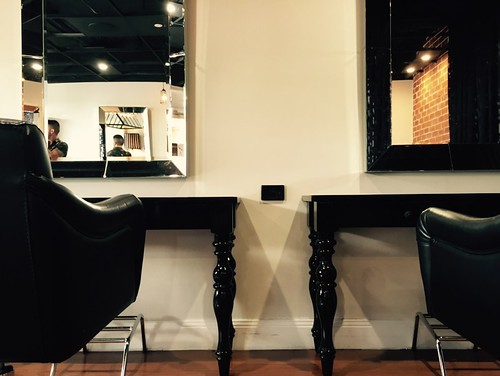 Retro looking hair salon. All electrical designed and wired in surface conduit for our client.