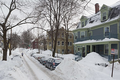 Walking Down the Street (metroblossom) Tags: winter cambridge snow building massachusetts snowing residential cambridgeport postblizzard img2737