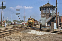 Westbound at CO Tower (craigsanders429) Tags: trains railroads railroadtracks norfolkwestern conrail charlestonillinois interlockingtowers conraillocomotives conrailtrains readinglineslocomotives cotower