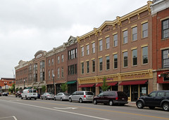 Buildings - Wooster, OH (Pythaglio) Tags: county street trees windows ohio signs building brick cars modern buildings awning wayne structures 11 structure sidewalk commercial storefronts brackets 2012 wooster cornice italianate replicas hoodmolds threestory facsimiles