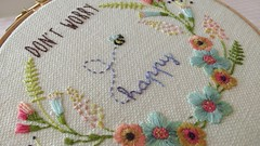 Be Happy Hoop Detail (Bustle & Sew) Tags: flowers embroidery bee stitching embroiderypattern hoopart hooppattern