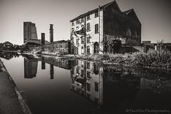 DSC_4303 (jasonmgabriel) Tags: bw white house black reflection tower monochrome canal yorkshire leeds towpath bridgewater