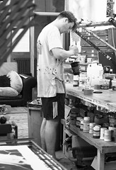 Mixing The Paint (cathbooton) Tags: canonusers canoneos indoor bnw paint mix mixing art studio artist illustrator illustration liverpool screen printing