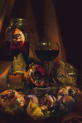 Alter (Katelin Kinney) Tags: fruit wine baroque alter painting classic classical glass luscious luxury red blood pomegranate peach still life stilllife drink beauty product photography