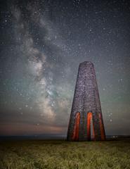 Day Marker, Night Markers I (EXPLORED) (macdad1948) Tags: stars astro nightscape starscape devon night milkyway daymarker dartmouth coastalpath navigation tower