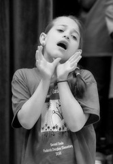 2016-04-07 (151) Fred D ES 2nd grade show (How Does Your Garden Grow) evening (JLeeFleenor) Tags: photos photography virginia va leesburg loudouncounty frederickdouglass elementaryschool twins inside indoors youthactivities youth skit bw blackwhite monochrome